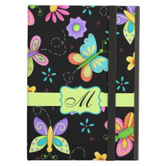 Modern Whimsy Butterflies Black Monogram Personal iPad Air Cover