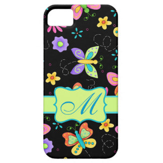 Modern Whimsy Butterflies Black Monogram Personal iPhone SE/5/5s Case