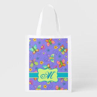 Modern Whimsy Butterflies Monogram on Purple Grocery Bag