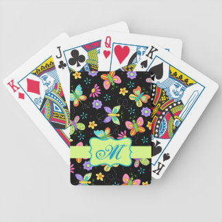 Modern Whimsy Butterflies on Black Monogram Bicycle Playing Cards