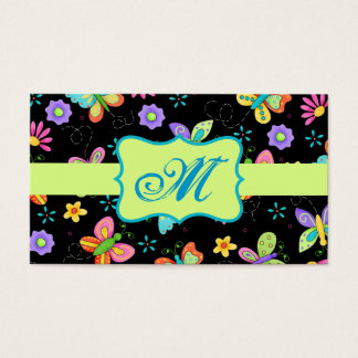 Modern Whimsy Butterflies on Black Monogram Business Card