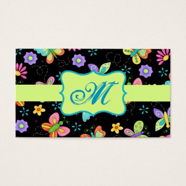 Professional Business Modern Whimsy Butterflies on Black Monogram Business Card