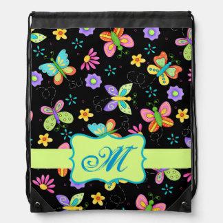 Modern Whimsy Butterflies on Black Monogram Drawstring Bag
