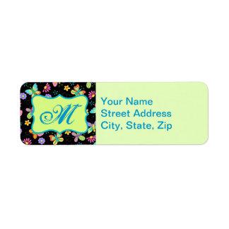 Modern Whimsy Butterflies on Black Monogram Custom Return Address Labels