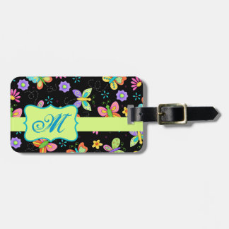Modern Whimsy Butterflies on Black Monogram Luggage Tag