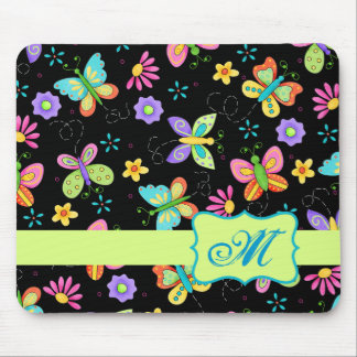 Modern Whimsy Butterflies on Black Monogram Mouse Pad
