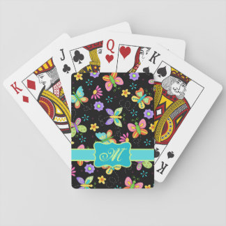 Modern Whimsy Butterflies on Black Monogram Playing Cards