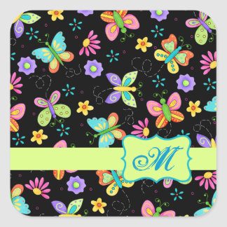 Modern Whimsy Butterflies on Black Monogram Square Sticker