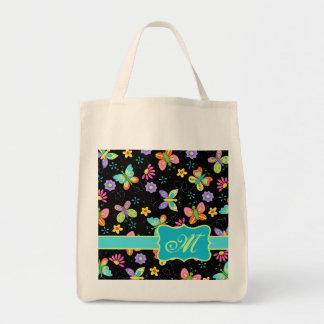 Modern Whimsy Butterflies on Black Monogram Tote Bag