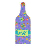 Modern Whimsy Butterflies on Purple  Monogram Cutting Board