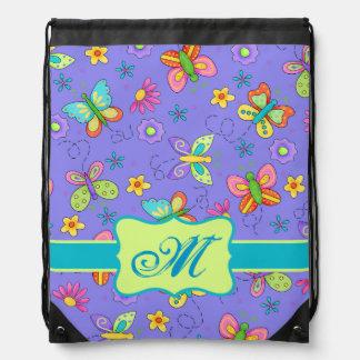Modern Whimsy Butterflies on Purple  Monogram Drawstring Bag