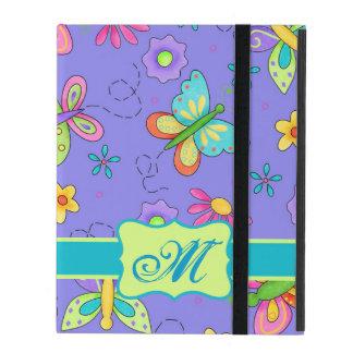 Modern Whimsy Butterflies on Purple  Monogram iPad Covers