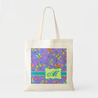 Modern Whimsy Butterflies on Purple  Monogram Tote Bag