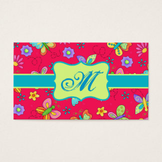 Modern Whimsy Butterflies on Red Monogram Personal Business Card