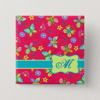Modern Whimsy Butterflies on Red Monogram Personal Button