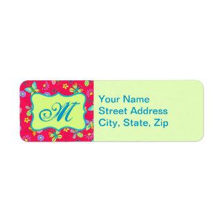 Modern Whimsy Butterflies on Red Monogram Personal Custom Return Address Labels