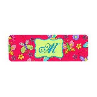 Modern Whimsy Butterflies on Red Monogram Personal Label