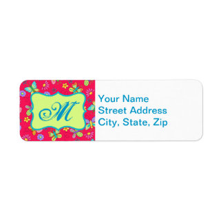 Modern Whimsy Butterflies on Red Monogram Personal Labels