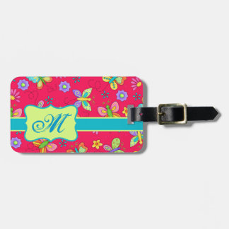 Modern Whimsy Butterflies on Red Monogram Personal Travel Bag Tags