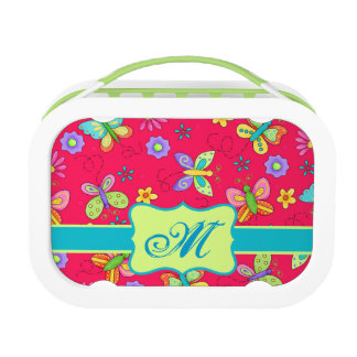 Modern Whimsy Butterflies on Red Monogram Personal Lunch Box