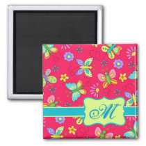 Modern Whimsy Butterflies on Red Monogram Personal Magnet