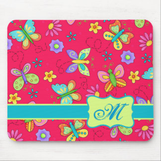 Modern Whimsy Butterflies on Red Monogram Personal Mouse Pad