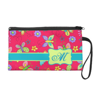 Modern Whimsy Butterflies on Red Monogram Personal Wristlet