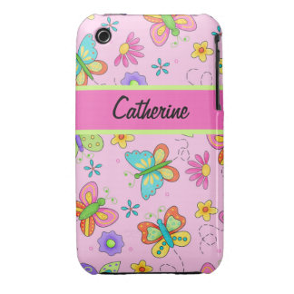 Modern Whimsy Butterflies Pink Name Personalized iPhone 3 Cover