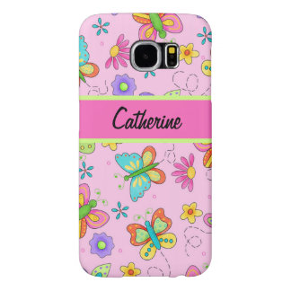 Modern Whimsy Butterflies Pink Name Personalized Samsung Galaxy S6 Case
