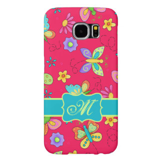 Modern Whimsy Butterflies Red Monogram Personal Samsung Galaxy S6 Cases