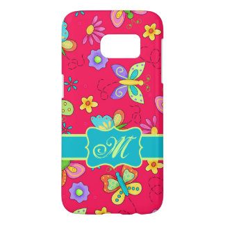 Modern Whimsy Butterfly Red Monogram Personalized Samsung Galaxy S7 Case