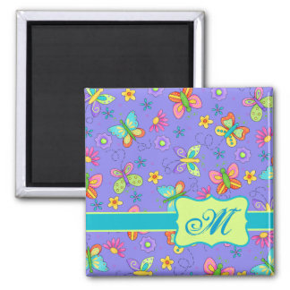 Modern Whimsy Lavender Butterfly Monogram 2 Inch Square Magnet