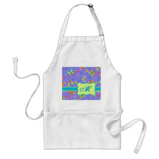 Modern Whimsy Lavender Butterfly Monogram Adult Apron