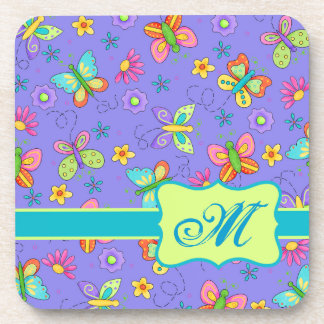 Modern Whimsy Lavender Butterfly Monogram Coasters