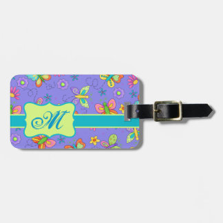 Modern Whimsy Lavender Butterfly Monogram Tag For Bags