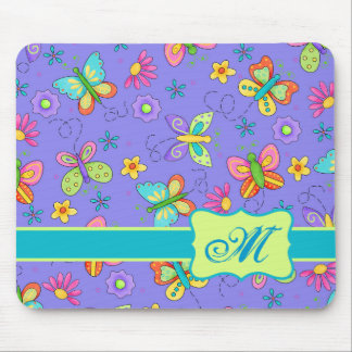 Modern Whimsy Lavender Butterfly Monogram Mouse Pad