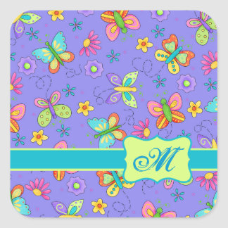 Modern Whimsy Lavender Butterfly Monogram Square Sticker