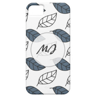 Modern Whit and Blue Leaves Pattern iPhone 5 Covers