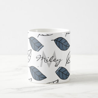 Modern Whit and Blue Leaves Pattern Coffee Mug