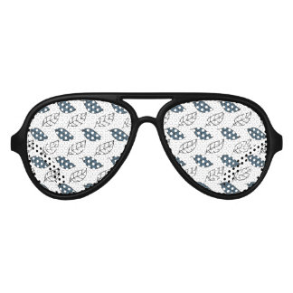 Modern Whit and Blue Leaves Pattern Aviator Sunglasses