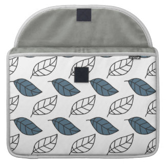 Modern Whit and Blue Leaves Pattern MacBook Pro Sleeves