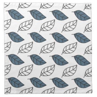 Modern Whit and Blue Leaves Pattern Napkins