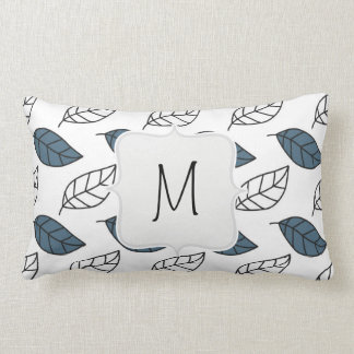 Modern Whit and Blue Leaves Pattern Throw Pillow