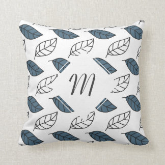Modern Whit and Blue Leaves Pattern Throw Pillows