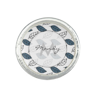 Modern Whit and Blue Leaves Pattern Photo Ring
