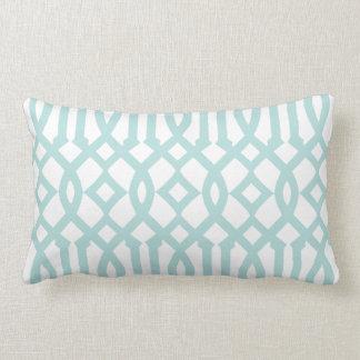 Modern White and Aqua Imperial Trellis Pillows