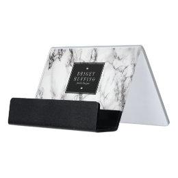 Modern White And Black Marble Stone Pattern Desk Business Card Holder