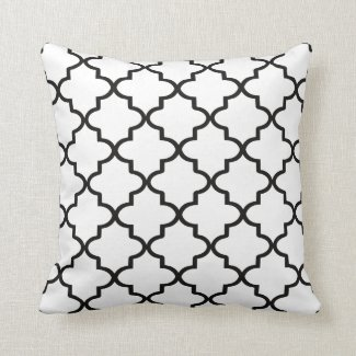 Modern White and Black Moroccan Quatrefoil Throw Pillow