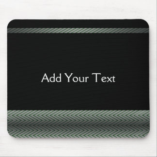 Modern White and Black Racing Stripe Mouse Pad