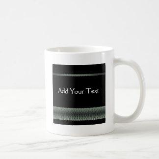 Modern White and Black Racing Stripe Coffee Mug